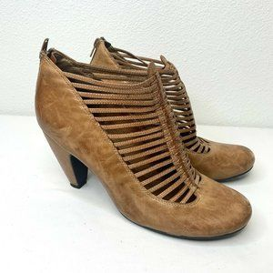 Miz Mooz Sloan Pump Caged Booties Tan Leather